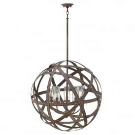 Carson Outdoor 5 Light Ceiling Chandelier in Vintage Iron Finish with Seeded Glass
