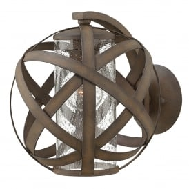 Carson Outdoor Single Light Wall Fitting in Vintage Iron Finish with Seeded Glass