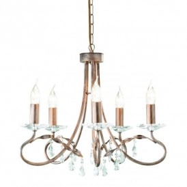 Christina 5 Light Chandelier with a Silver Gold Finish