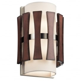 Cirus 2 Light Wall Fitting in Brushed Nickel with Auburn Stained Wood Accents