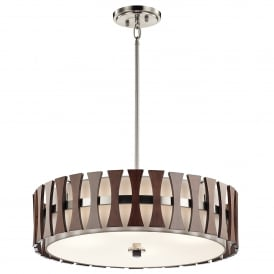 Cirus 4 Light Ceiling Pendant in Brushed Nickel with Auburn Stained Wood Accents