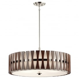 Cirus 5 Light Ceiling Pendant in Brushed Nickel and Auburn Stained Wood Accents