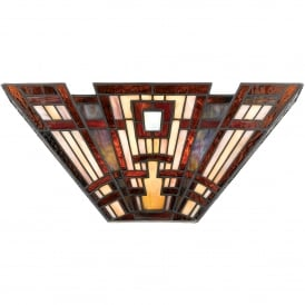 Classic Craftsman 2 Light Tiffany Wall Uplighter
