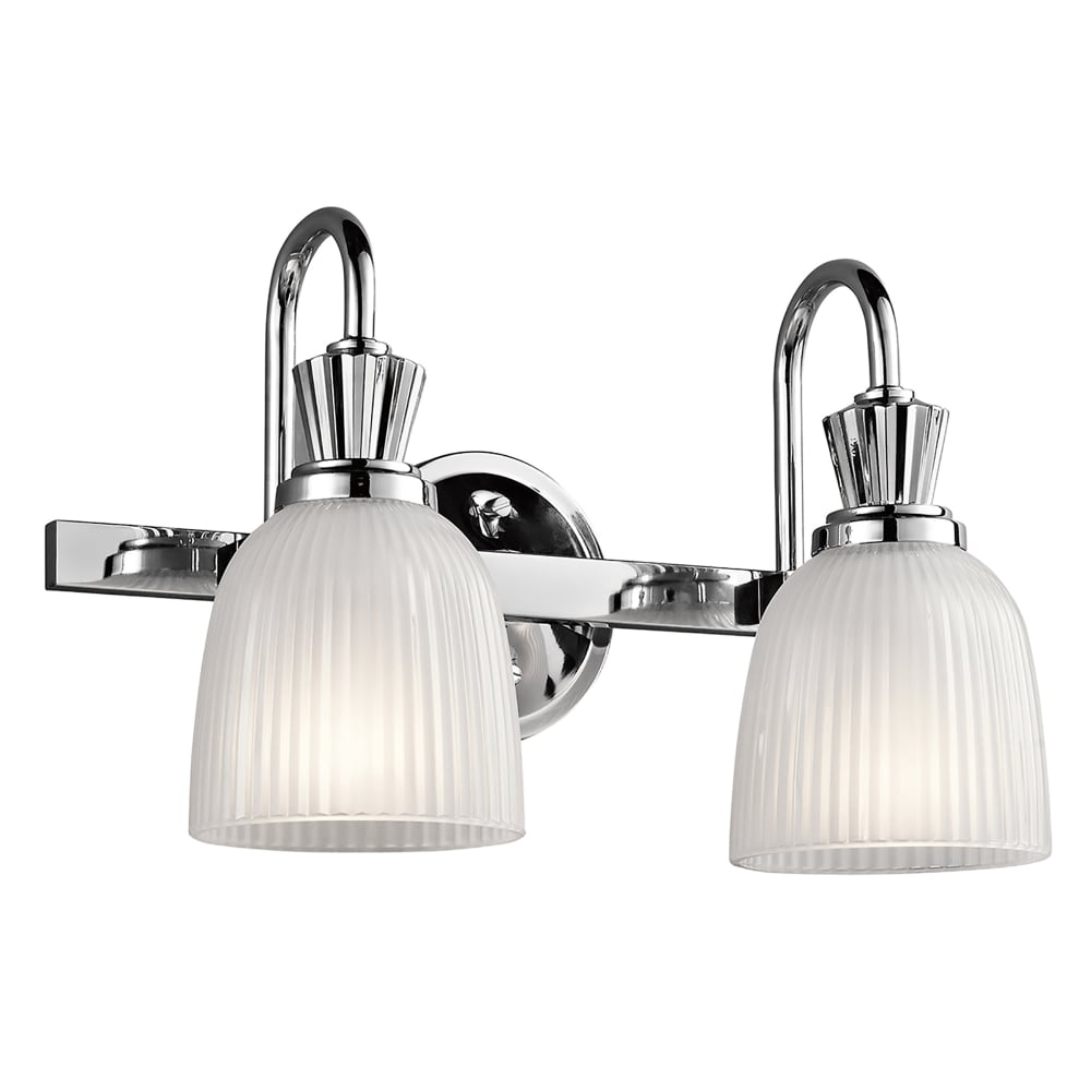 Elstead Lighting Cora 2 LED Bathroom Wall Fitting In Polished Chrome Finish Complete With Glass