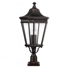 Cotswold Lane 3 Light Large Pedestal in Grecian Bronze Finish (Outdoor)