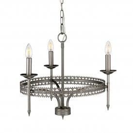 Crown 3 Light Ceiling Chandelier in Iron Gate Grey Painted Finish