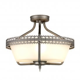 Crown 3 Light Semi Flush Convertible Ceiling Pendant in Iron Gate Hand Painted Grey Finish
