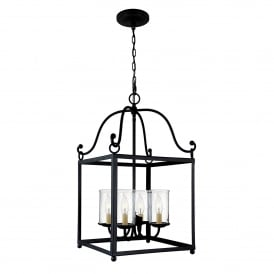 Declaration 4 Light Ceiling Pendant in Antique Forged Iron Finish with Glass