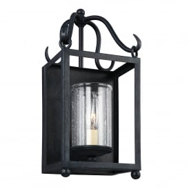 Declaration Single Light Wall Fitting in Antique Forged Iron Finish with Glass
