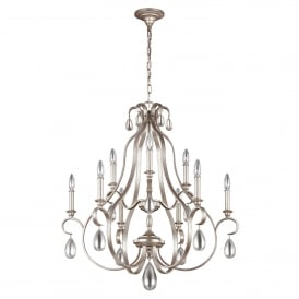 Dewitt 9 Light Multi Arm Chandelier in Sunrise Silver Finish