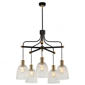 Douille 5 Light Ceiling Chandelier in Black and Polished Brass Finish