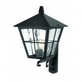 Edinburgh Single Light Outdoor Upright Wall Lantern in a Black Finish
