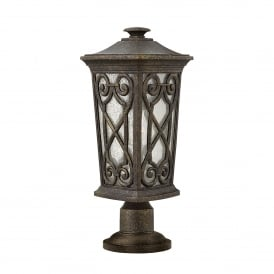 Enzo Single Light Outdoor Pedestal Fitting Made From Die Cast Aluminium in an Autumn Finish
