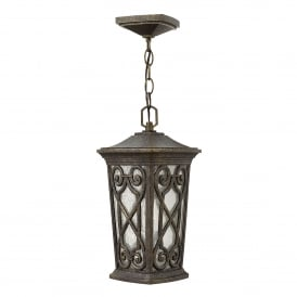 Enzo Single Light Small Chain Lantern Made From Die Cast Aluminium in Autumn Finish