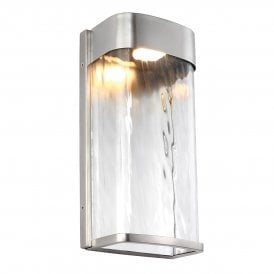 FE/BENNIE/L PBS Feiss Bennie Single LED Large Wall Fitting in Painted Brushed Steel Finish with Clear Water Glass