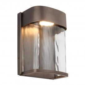 FE/BENNIE/S ANBZ Feiss Bennie Single LED Small Outdoor Wall Fitting in Antique Bronze Finish with Glass