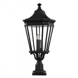 FE/COTSLN3/L BK Cotswold Lane 3 Light Large Pedestal in Black Finish (Outdoor)