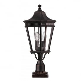 FE/COTSLN3/M GB Cotswold Lane 2 Light Medium Pedestal in Grecian Bronze Finish (Outdoor)