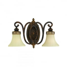 FE/DRAWINGRM2/B Feiss Drawing Room 2 Light Wall Fitting in a Walnut Finish