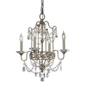FE/GIANNA4 Feiss Gianna 4 Light Duo-mount Chandelier Fitting a Gilded Silver Finish
