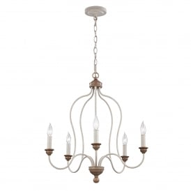 FE/HARTSVILLE5 Hartsville 5 Light Ceiling Chandelier in Chalked Washed and Beachwood Finish