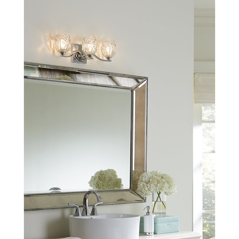 Elstead Lighting Fe Kalli3 Bath Kalli 3 Led Above Mirror Bathroom Wall Light In Polished Chrome Finish Complete With Glass Shades Castlegate Lights
