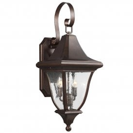 FE/OAKMONT2/M Feiss Oakmont 2 Light Medium Outdoor Wall Fitting in Patina Bronze Finish with Seeded Glass