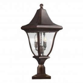 FE/OAKMONT3/M Feiss Oakmont 3 Light Post Lantern in Patina Bronze Finish with Seeded Glass