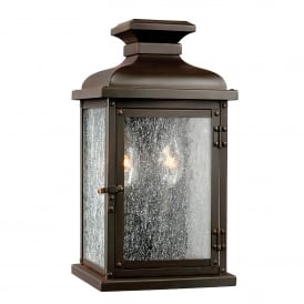FE/PEDIMENT/S Pediment 2 Light Small Outdoor Wall Lantern in Dark Aged Copper Finish with Seeded Glass
