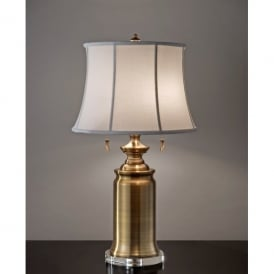 FE/STATERM TL BB Feiss Stateroom 2 Light Table Lamp in a Bali Brass Finish with White Shade