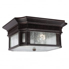 Federal Coastal 2 Light Flush Ceiling Fitting in Gilded Bronze Finish with Seeded Glass