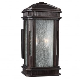 Federal Coastal 2 Light Wall Lantern in Gilded Bronze Finish with Seeded Glass