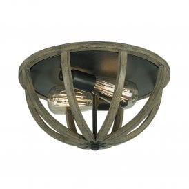 Feiss Allier 2 Light Flush Ceiling Fitting In Weather Oak Wood And Antique Forged Iron Finish