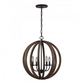 Feiss Allier 4 Light Ceiling Pendant In Weather Oak Wood And Antique Forged Iron Finish
