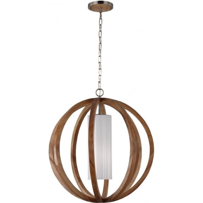 Elstead Lighting Feiss Allier Single Light Large Ceiling Pendant In Light Wood And Brushed Steel Finish