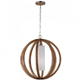 Feiss Allier Single Light Large Ceiling Pendant In Light Wood And Brushed Steel Finish