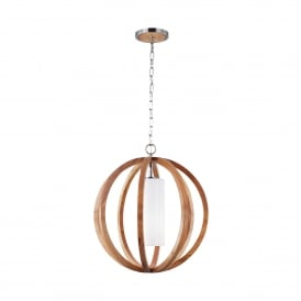 Feiss Allier Single Light Small Ceiling Pendant In Light Wood And Brushed Steel Finish
