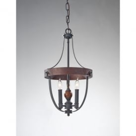 Feiss Alston 3 Light Dual Mount Ceiling Fitting in Charcoal and Forged Iron Finishes