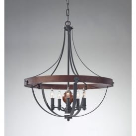 Feiss Alston 5 Light Pendant Chandelier in Charcoal and Forged Iron Finishes