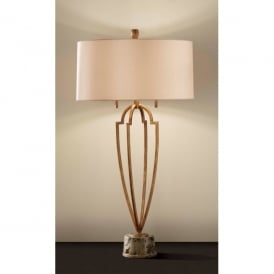 Feiss Ansari 2 Light Marble Base Table Lamp in Firenze Gold Finish