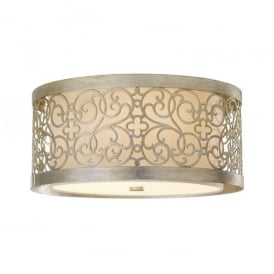 Feiss Arabesque 2 Light Flush Ceiling Fitting in a Silver Leaf Patina