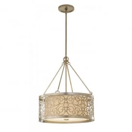 Feiss Arabesque 4 Light Ceiling Pendant in a Silver Leaf Patina