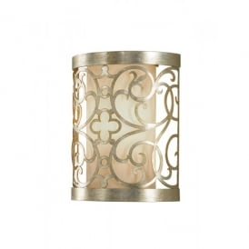 Feiss Arabesque Single Light Wall Fitting in a Silver Leaf Patina