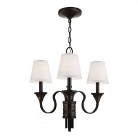 Feiss Arbor Creek 3 Light Ceiling Pendant In Arbor Bronze And Weathered Brass Finish