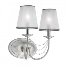 Feiss Aveline 2 Light Wall Fitting In Brushed Steel Finish And Organza Shade