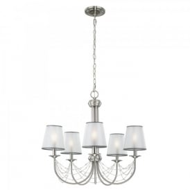 Feiss Aveline 5 Light Ceiling Chandelier In Brushed Steel Finish And Organza Shades