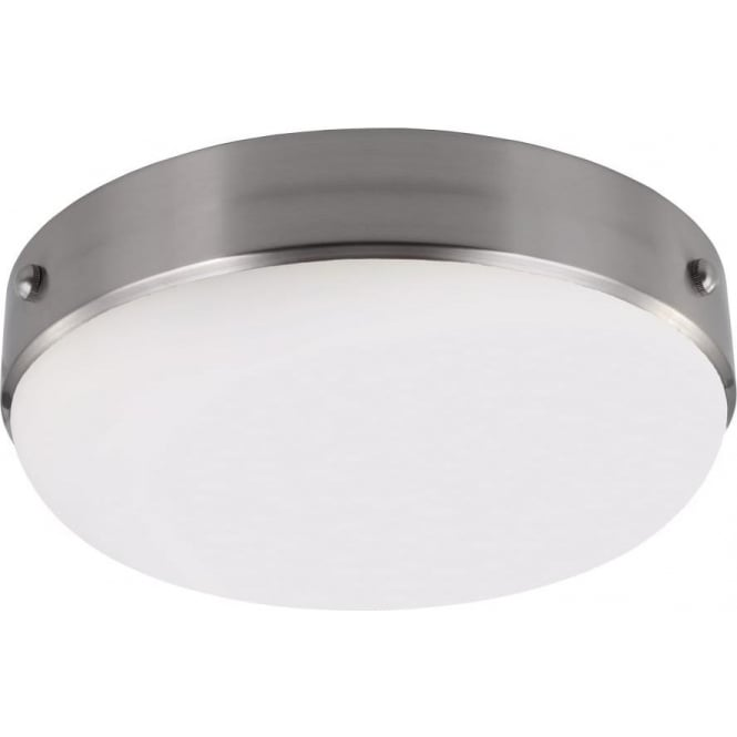 Elstead Lighting Feiss Cadence 2 Light Flush Ceiling Fitting In Polished Nickel And Brushed Steel Finish
