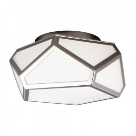 Feiss Diamond 2 Light Flush Ceiling Fitting In Polished Nickel And Opal Glass Finish