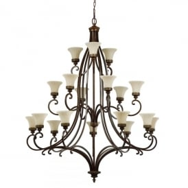 Feiss Drawing Room 18 Light Chandelier Fitting in a Walnut Finish