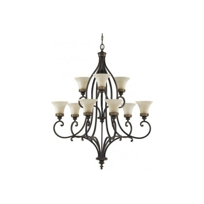 Elstead Lighting Feiss Drawing Room 9 Light Chandelier Fitting in a Walnut Finish